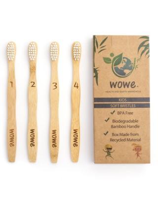 Wowe, naturalna bambusowa szczoteczka do zębów, miękkie włosie, 4 szt Dla dzieci.
