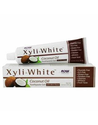 Now Foods XyliWhite, Pasta wybielające do zębów / żel , z Olejem kokosowy, Aromat miętowy 181 g.